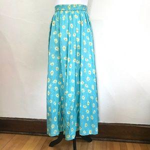 Vintage 1990s Style Long 100% Silk Sunflower Skirt
